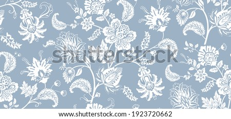 Two-color vector floral pattern. Design for wallpaper, wrapping paper, background, fabric. Vector seamless pattern with decorative climbing flowers.
