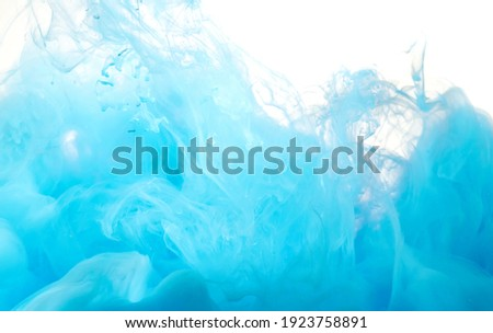 Teal ink colour dissolving in water, abstract shape
