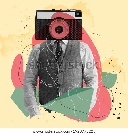 Contemporary art collage. Lines art. Young man businessman headed of camera isolated over light yellow background. Trendy colors. Copy space for text, ad. Square composition. Modern artwork.
