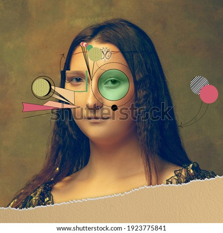 Young woman as Mona Lisa replica isolated on dark green background. Comparison of eras concept. Beautiful female model like classic historical character, old-fashioned. Collage of contemporary art. Royalty-Free Stock Photo #1923775841