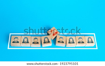 Blocks team of people kicks out a member to cut staff. Toxicity and conflict. Staff reduction. Department layoffs, optimization of employees. Dismissal of incompetent workers. No vacancies Royalty-Free Stock Photo #1923795101
