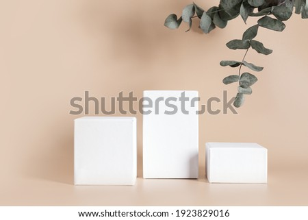 White empty stands on light color background decorated eucalyptus leaves. Blank podiums shopfront. Showcase for cosmetic or beauty promotions. Product display advertisement. Copy space.