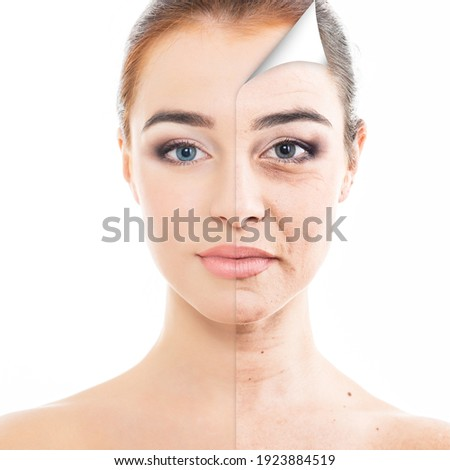 Anti-aging and beauty treatment. Portrait of beautiful woman with old problem and young clean healthy skin, aging and youth concept Royalty-Free Stock Photo #1923884519