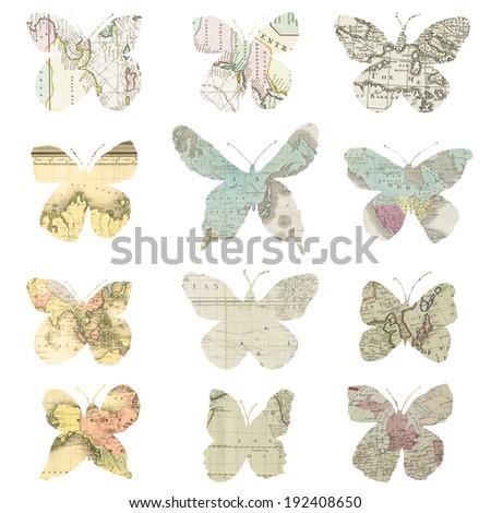 Vintage Map Digital Scrapbook Butterflies for Travel Loves