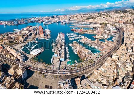 Genoa port aerial panoramic view. Genoa or Genova is the capital of Liguria region in Italy. Royalty-Free Stock Photo #1924100432