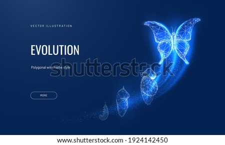 Evolution of a butterfly in a digital futuristic style. Insect life cycle, transformation from caterpillar to butterfly. The concept of a successful startup or investment or business transformation