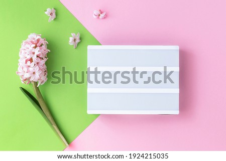 Spring coming , womens day, birthday and other holidays festive poster, card. On pink green background lightbox and pink hyacinth flower. Empty space for text on lightbox. Pastel colors.