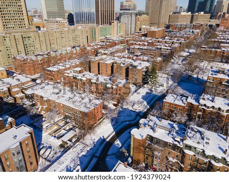 Boston historic townhouse in South End aerial view in winter, city of Boston, Massachusetts MA, USA.