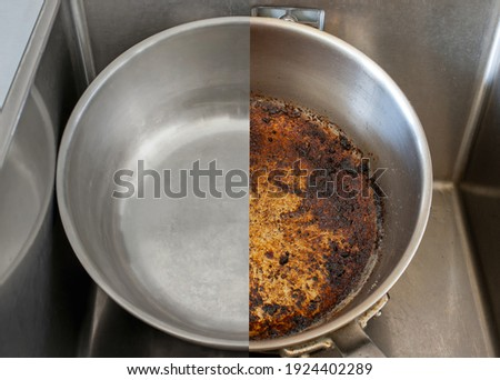 Compare burnt pan image before and after cleaning the unclean able stained pot from burnt cooking pot. The dirty stainless steel pan with the clean pan clean shiny bright like new in the kitchen sink. Royalty-Free Stock Photo #1924402289