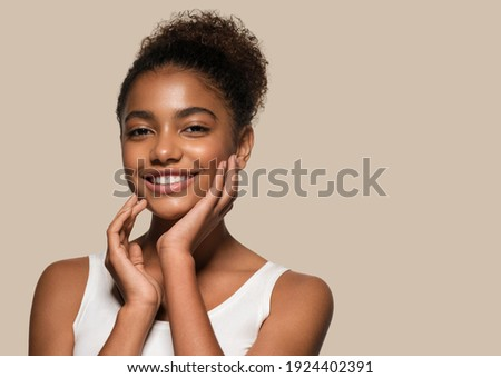 Beauty black skin woman face cosmetic portrait Royalty-Free Stock Photo #1924402391