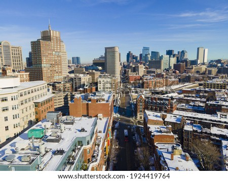 Boston financial district modern skyline on Columbus Avenue in winter at downtown Boston, Massachusetts MA, USA.