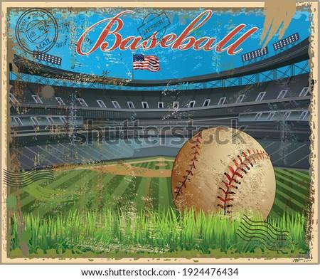 Baseball vintage retro postcard Baseball stadium Baseball vintage ball, mitt, bat.  Retro postcard Baseball ball diamond with green grass and USA Flag