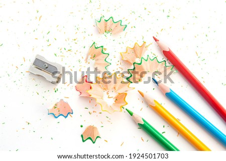colored pencils and a metal sharpener isolated on a white background.