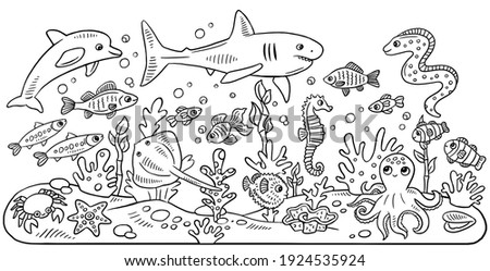 Children's coloring book with ocean animals: dolphin, shark, seahorse, various fish, crab, starfish, ramp