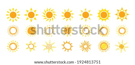 Funny vector doodle suns. Hand drawn icons vector symbol set.
