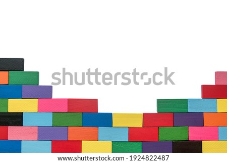 Colorful wooden block isolated on white background.