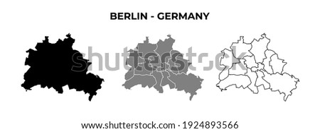 Berlin Blank Map Vector Black Silhouette and Outline Isolated on White Royalty-Free Stock Photo #1924893566