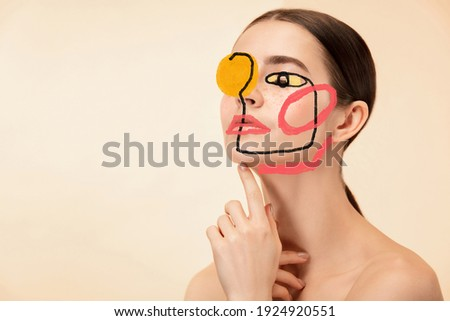 Art portrait of young woman, fashion model with abstract geometrical drawings by modern one line style technique. Contemporary art, beauty, colors, glamour, inspiration. New look of paintography. Royalty-Free Stock Photo #1924920551