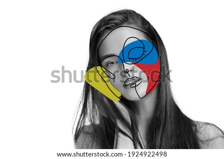 Art portrait of young woman, fashion model with abstract geometrical drawings by modern one line style technique. Contemporary art, beauty, colors, glamour, inspiration. New look of paintography. Royalty-Free Stock Photo #1924922498