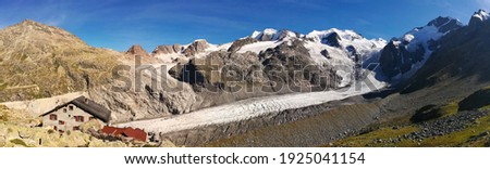 glacier panorama picture. Morteratsch glacier with a view of the bianco ridge from the piz bernina. sac refuge