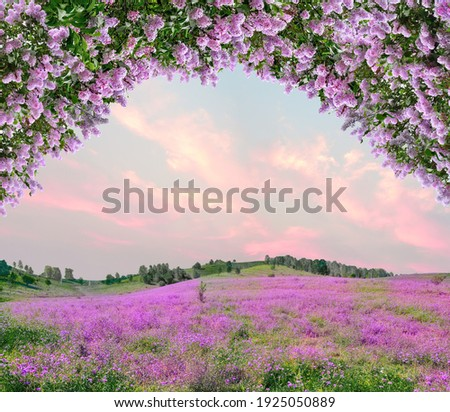 Idyllic spring background with blossoming lilac bushes flowers and pink wildflowers on meadow. Pink morning clouds on blue sky over delicate flowering spring meadow, space for text Royalty-Free Stock Photo #1925050889
