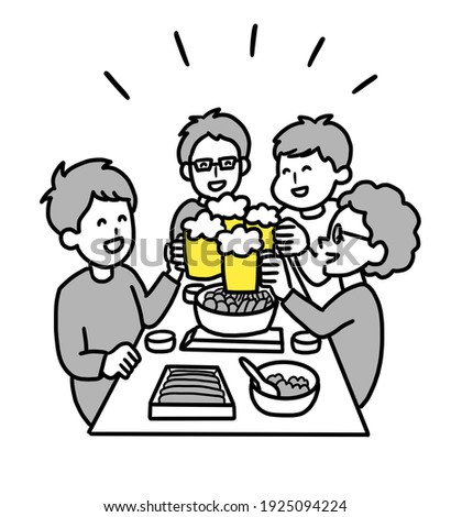 Clip art of a men eating a pot dish and drinking beer.