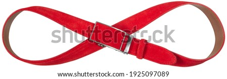 Red seude belt in shape of Infinity isolated on white background Royalty-Free Stock Photo #1925097089