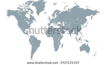 World map color vector modern. Silhouette map. Royalty-Free Stock Photo #1925131319