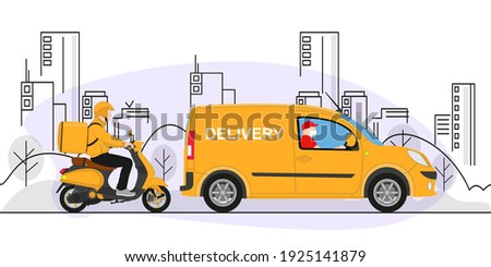 Online delivery service concept, online order tracking, delivery home and office. Warehouse, truck, scooter, delivery man in respiratory mask. Vector illustration. Royalty-Free Stock Photo #1925141879