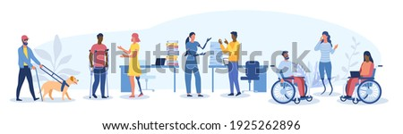 Large set of disabled people in the workplace with a blind man and dog, girl with prosthetics and wheel chair users, flat cartoon colored vector illustration