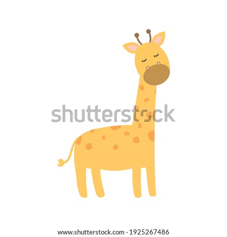 cute giraffe on a white background vector illustration design