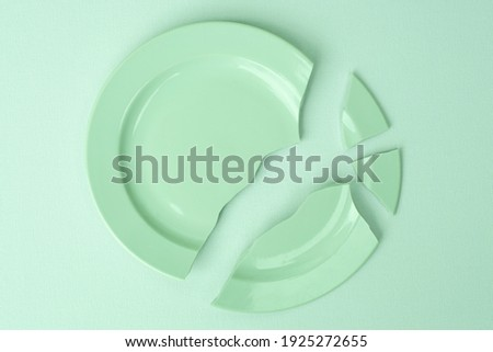shards of a broken plate on a light background, mint toning. The concept of breaking up relations, divorce, destruction. Royalty-Free Stock Photo #1925272655