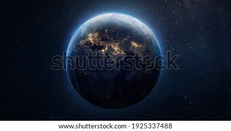 Sphere of nightly Earth planet in outer space. City lights on planet. Life of people. Solar system element. Elements of this image furnished by NASA Royalty-Free Stock Photo #1925337488