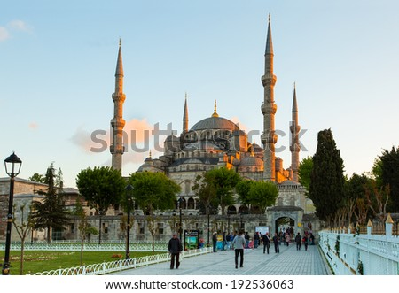 ISTANBUL - MAY 06: Tourist walking around Blue mosque and Sultanahmet park on May 06, 2014 Istanbul, Turkey #192536063