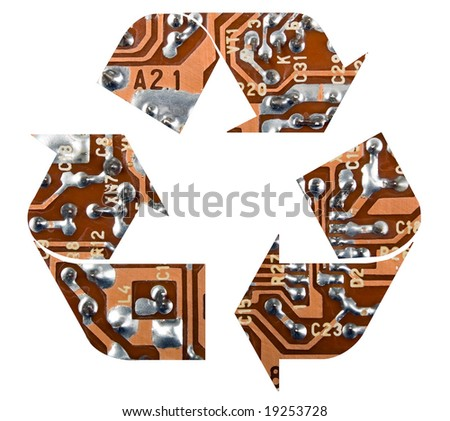 There is a recycling symbol on white background #19253728