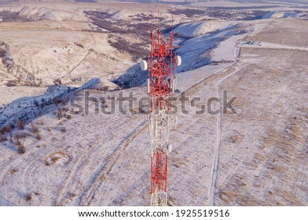 Tower Communication Antenna Transmitter. Telecommunication cell tower of 4G and 5G Royalty-Free Stock Photo #1925519516