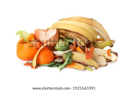 Pile of organic waste for composting on white background Royalty-Free Stock Photo #1925563391
