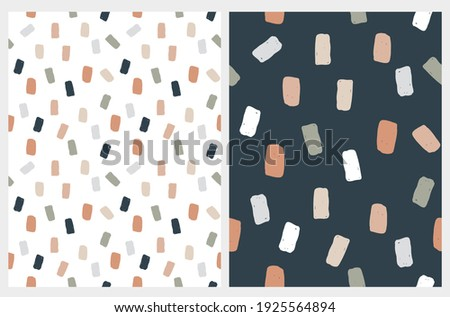 Abstract Geometric Irregular Vector Patterns with Squares. Cute Gray, Brown, Pale Green and Beige Brush Spots on a White and Dark Blue Background. Simple Hand Drawn Doodle Print.  Royalty-Free Stock Photo #1925564894