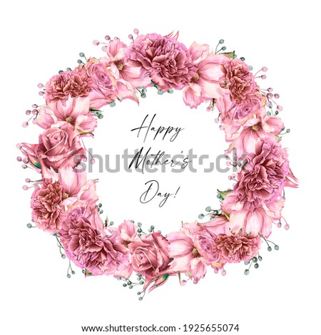 Watercolor carnation clipart,  Dusty pink carnation for Mother's day card,  Watercolor  boho roses isolated. Red carnation frames, Mother's day greeting card