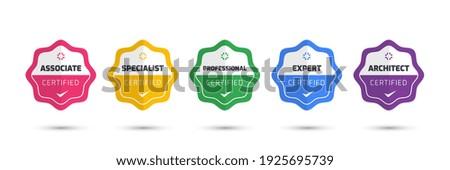 Digital Certification emblem with modern concept design. Certified logo badge template. Vector illustration. Royalty-Free Stock Photo #1925695739