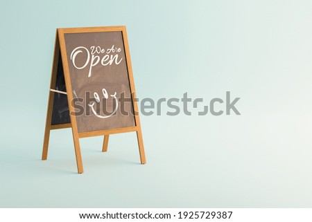 We are open chalk a board shop sign, 3D Illustration