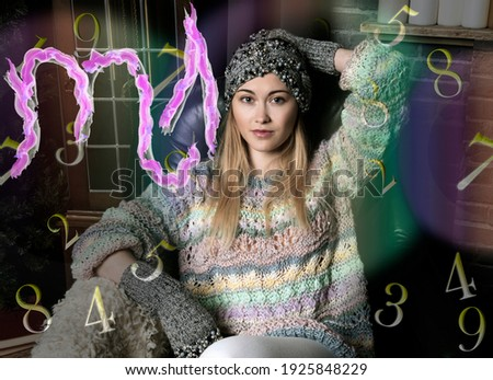 Portrait of a woman, scorpio zodiac sign and numerology