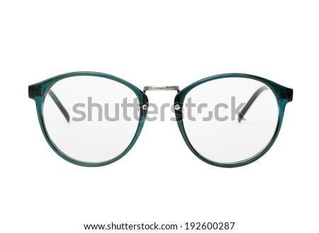 Nerd glasses isolated on white background, Vintage eyeglasses, Blue, Green. #192600287