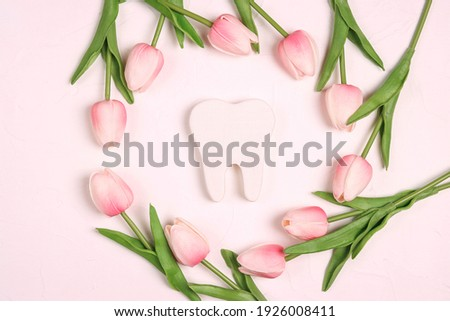 Festive dental background with tooth surrounded by pink tulips flowers on a white background with copy space for text. Happy Dentist's Day concept .