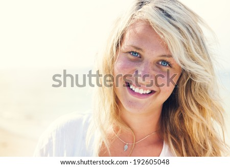 Woman relaxing on the beach. #192605048