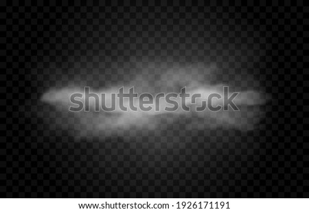 Vector cloud of smoke or fog. Fog or cloud on an isolated transparent background. Smoke, fog, cloud png.
