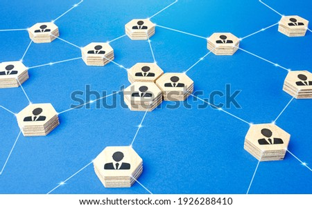 Network of connected people. Cooperation and globalization. Social communication. Information exchange relations. Exchange of experience, attracting new specialists to the project. Royalty-Free Stock Photo #1926288410