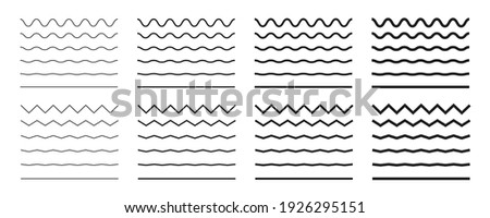 Wave line and wavy zigzag lines. Black underlines wavy curve zig zag line pattern in abstract style. Geometric decoration element. Vector illustration. Royalty-Free Stock Photo #1926295151