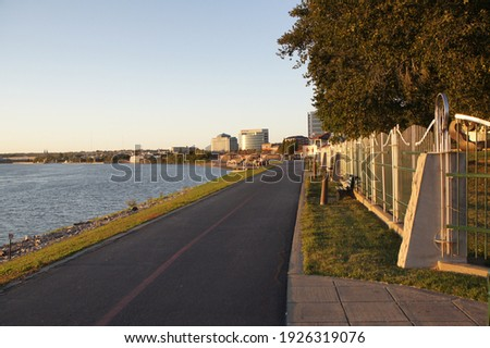 Evansville Indiana riverfront and walkway Royalty-Free Stock Photo #1926319076