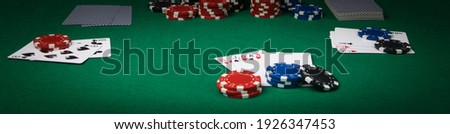 poker game concept on green table, long photo Royalty-Free Stock Photo #1926347453